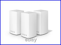 3-PACK LINKSYS VELOP Dual-Band Wireless AC1300 Home Mesh Wi-Fi WHW01 4500 SQ FT