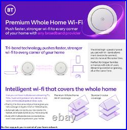 BT Premium Whole Home Wi-Fi, Pack of 3 Discs, Mesh Wi-Fi for Seamless AX6