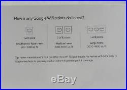 Google Wifi AC1200 Dual-Band Mesh Whole Home Wi-Fi System (3-Pack) White NEW
