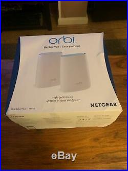 NETGEAR Orbi Tri-band Whole Home Mesh Wi-Fi System RBK50 ROUTER AND SATELLITE