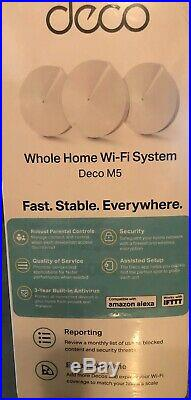 TP-LINK Deco M5 Whole Home Mesh Wi-Fi Router System Pack of 3 NEW 5500 sq Ft